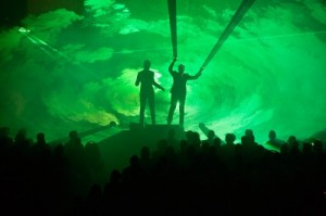 People on stage with green lasers at recent SAS conference