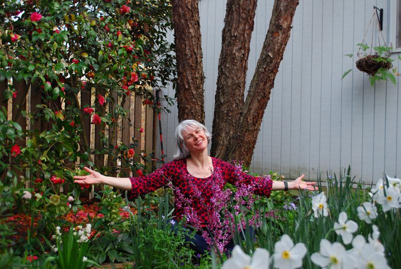 Annie Dudley Zangi in her garden