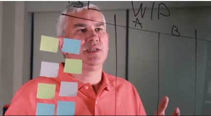 Tim at the Kanban board