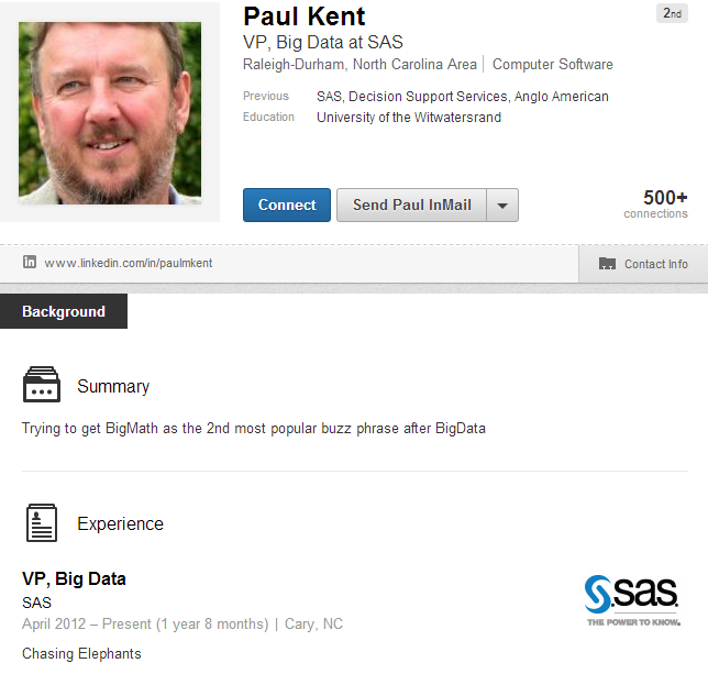 Paul Kent's LinkedIn profile