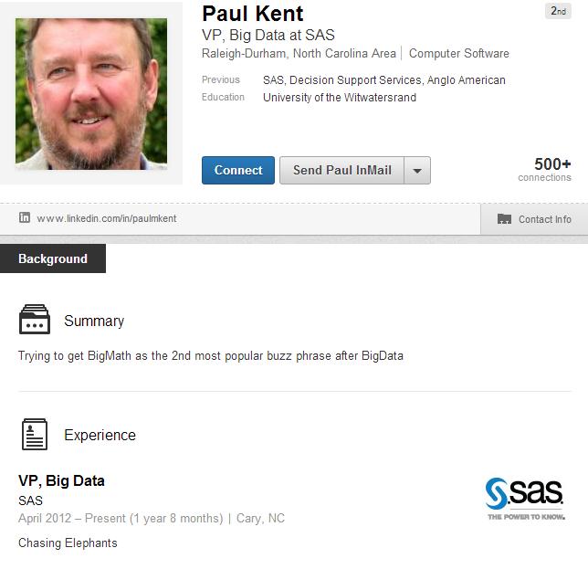 Paul Kent's LinkedIn profile