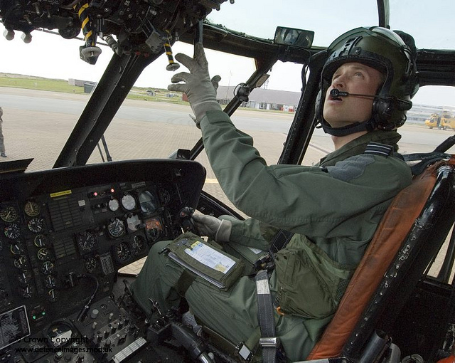 Prince William at the Controls of a Search and Rescue Seaking Helicopter