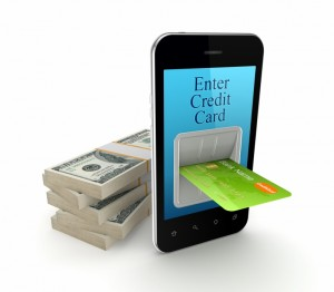 credit card inserted into iphone