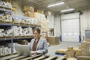 business worker on laptop in warehouse