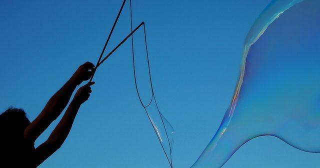large bubble against blue sky