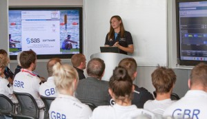 Katherine Chinn addresses members of the GB Rowing Team squad
