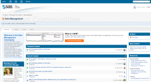 Screenshot of the SAS Data Management community