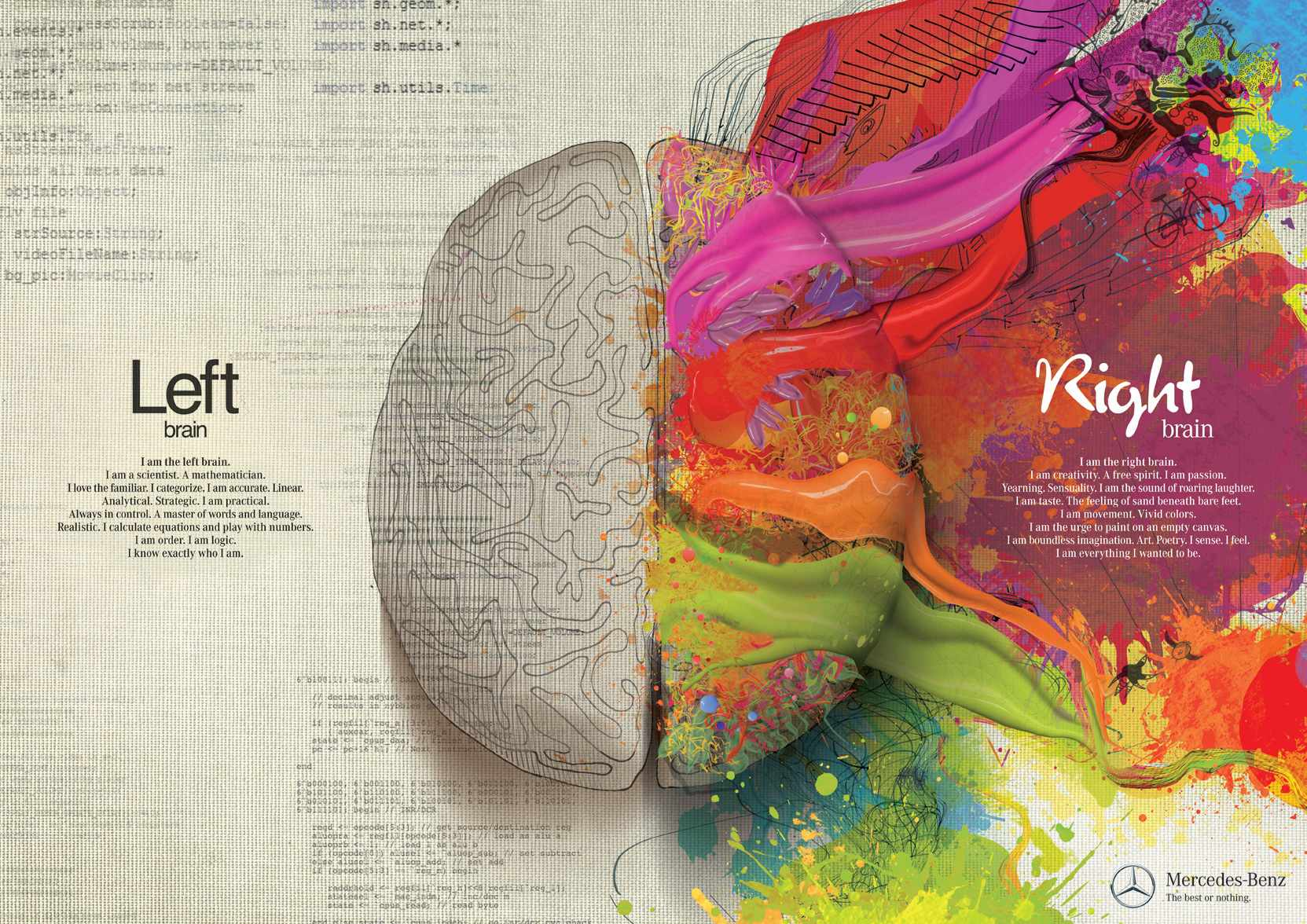 Mercedes ad depicting left and right brain functions