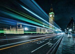 Lights streaking across city highway