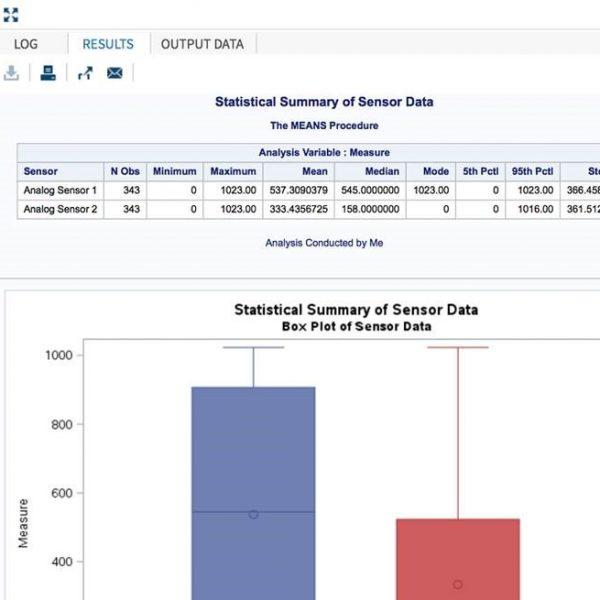 Statistical Summary of Arduino Sensor Data Using SAS Studio: