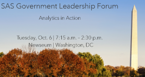 Cybersecurity, intelligence and analytics will also be key topics at next week's SAS Government Leadership Forum.