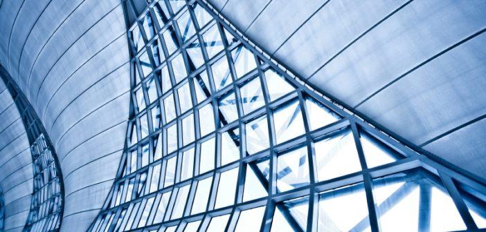 concrete wall with geometric windows