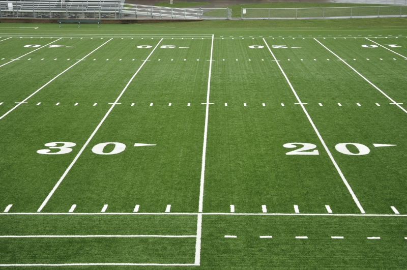 Football field showing 30-yard-line