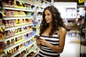 Grocery shopping with cell phone