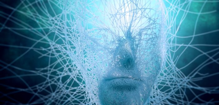 Artificial Intelligence networks surrounding a human head