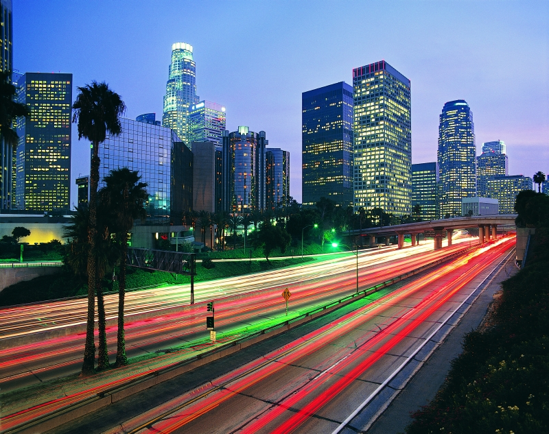 LA Highway lit up at dusk