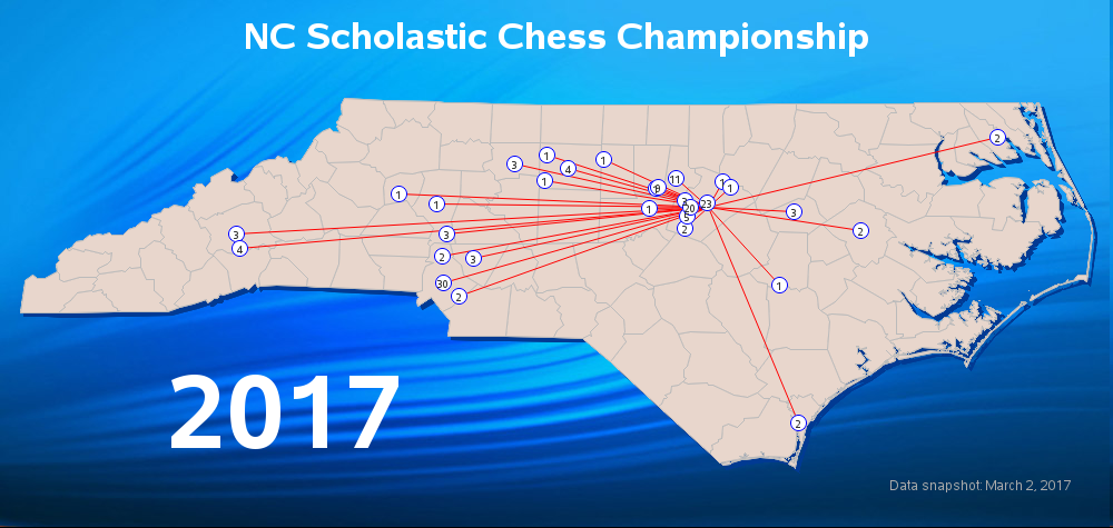 Map of participants in the NC Scholastic Chess Championship