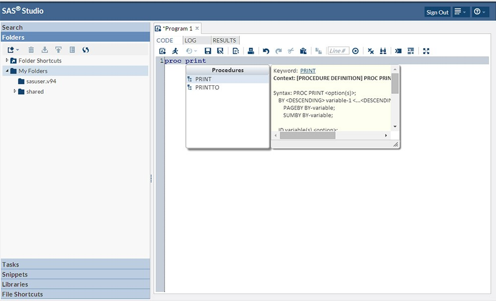 SAS Studio with an example of syntax auto-complete