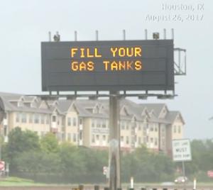 Evacuation sign in Houston
