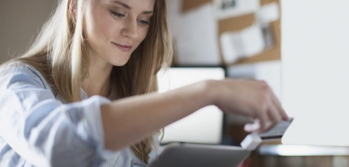 woman making an online payment