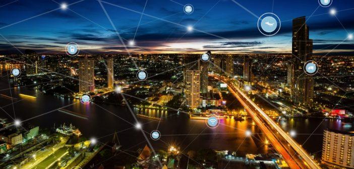 connected data shown across a city skyline