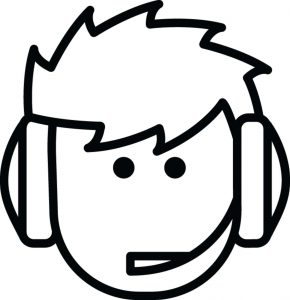 line drawing of man with headset for chatting