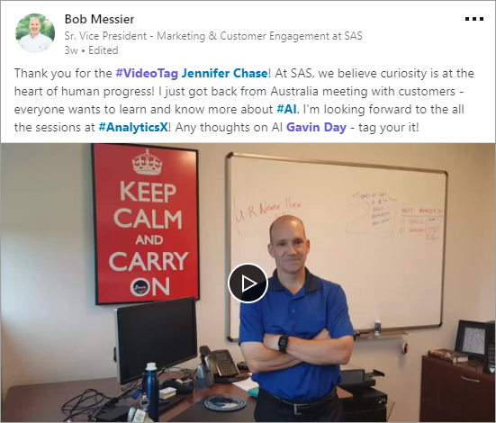 Bob Messier #videotag post on LinkedIn