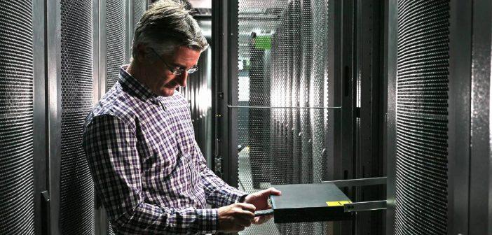 man in data center