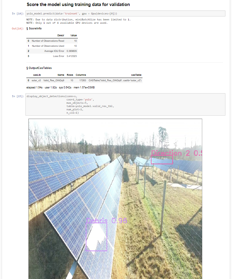 Jupyter Notebook showing model scoring and image of solar panels with object detection