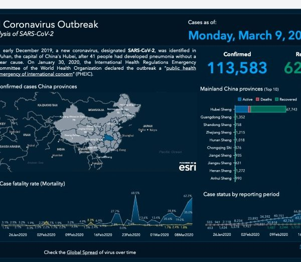 Overview of COVID-19 disease outbreak, including the number of confirmed new cases, recovered cases and deaths from the virus filtered by geographic location.