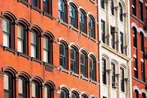 Close up of NYC brownstone windows