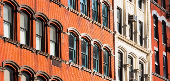 Close up of NYC brownstone windows