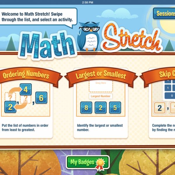 Math Stretch screenshot showing three activities