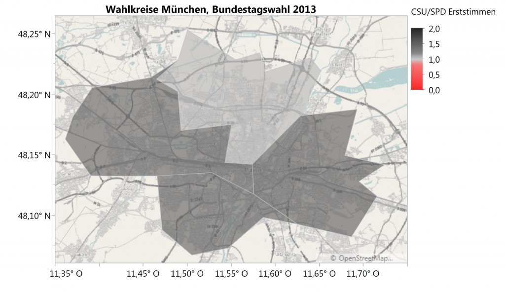 Ratio CSU/SPD Wahlkreise
