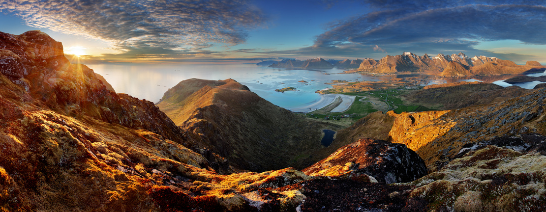Norway Landscape panorama with ocean and mountain - Lofoten