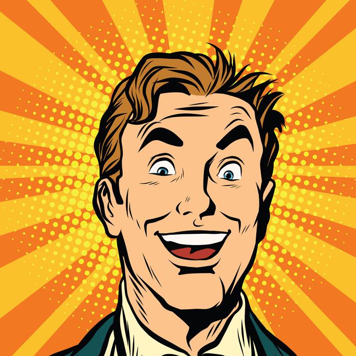 Happy male face, smile pop art retro vector illustration