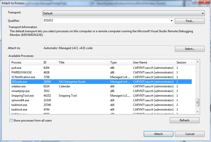 Using Microsoft Visual Studio 2013 Express to debug custom