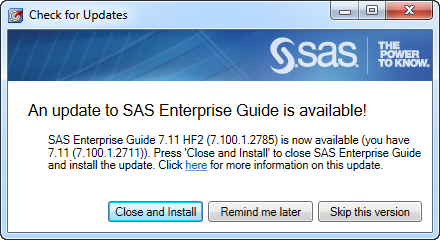 An update to SAS Enterprise Guide is available!