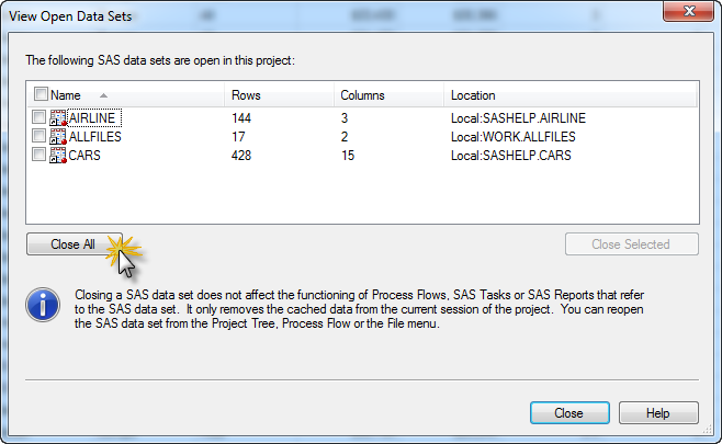 Tip: How to close all data sets in SAS Enterprise Guide