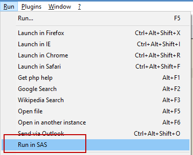 Run in SAS command