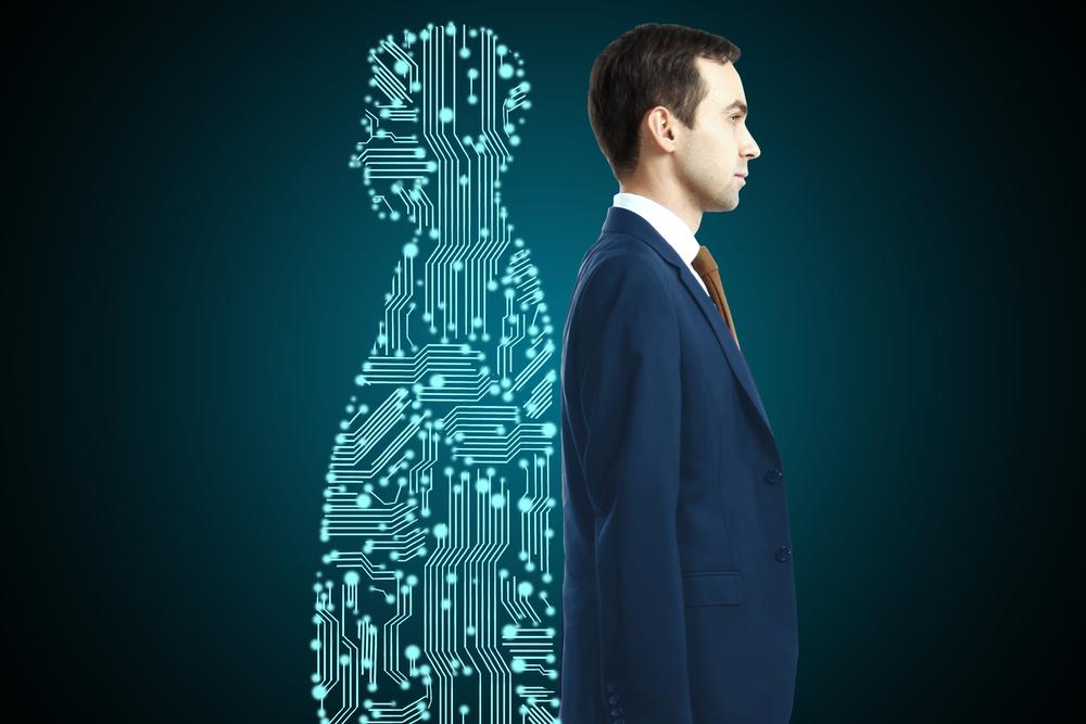 Businessman with digital partner standing back-to-back on dark background