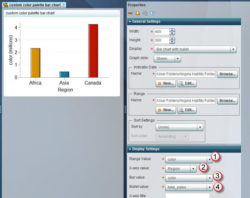 Customize the bar chart color palette in BI Dashboard