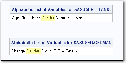Variable Lists from two data sets