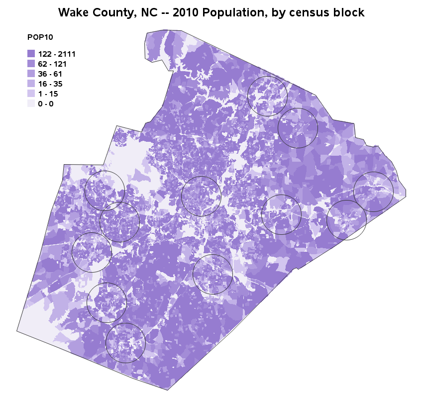 Wake county census block map, shaded by population
