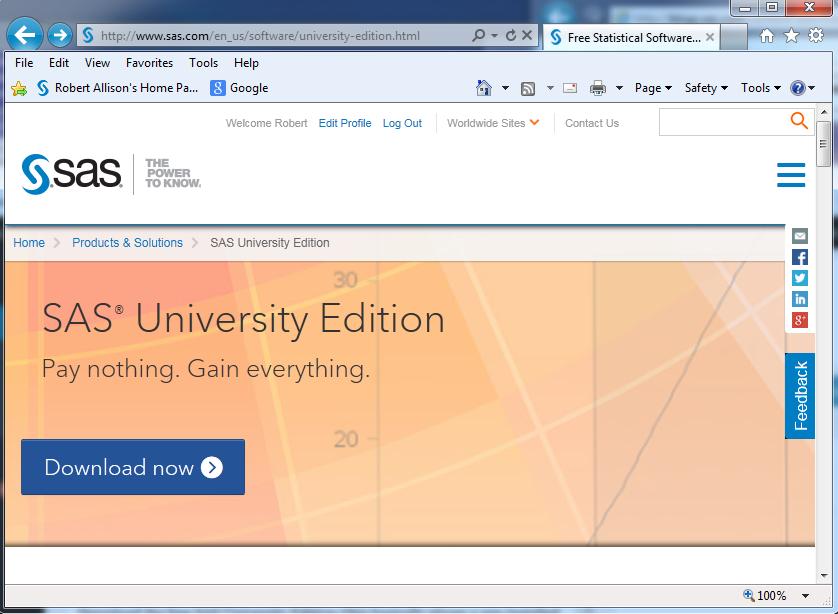 SAS University Edition page