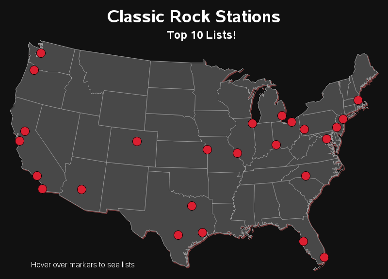 Classic Rock Stations map
