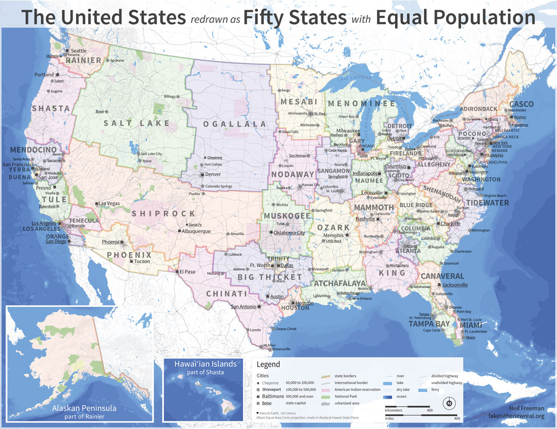 If US State Borders Were Redrawn Which New State Would You Live In - Map of us state borders