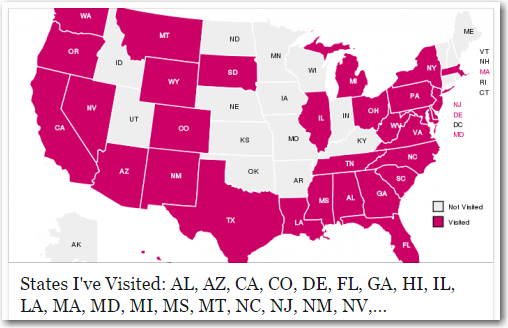 States Visited Map Map of states I've visited, using sas States Visited Map