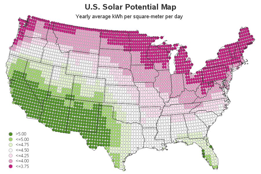 Whats The Solar Power Potential In Your Area The SAS Training Post - Solar power map us