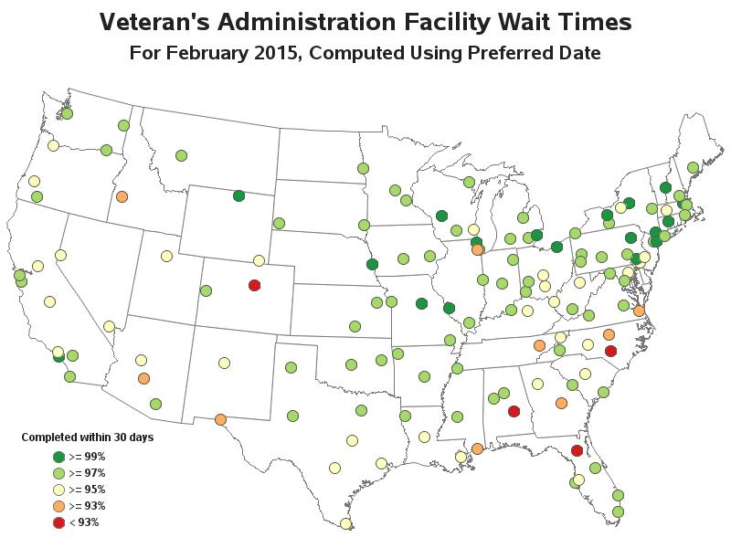 Analyzing Wait Times At VA Health Care Facilities - Map us va